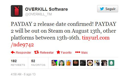 PAYDAY 2 release date twitter