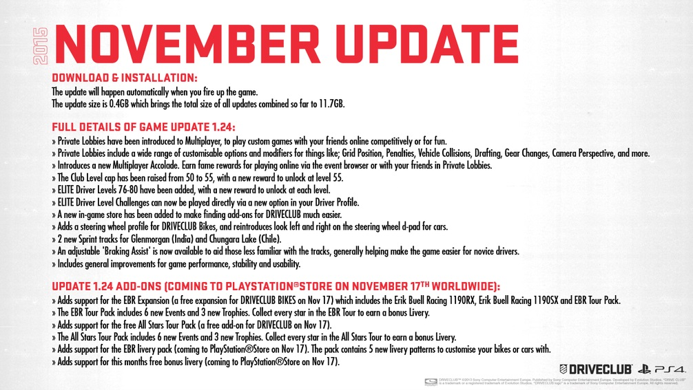 driveclub november update 2